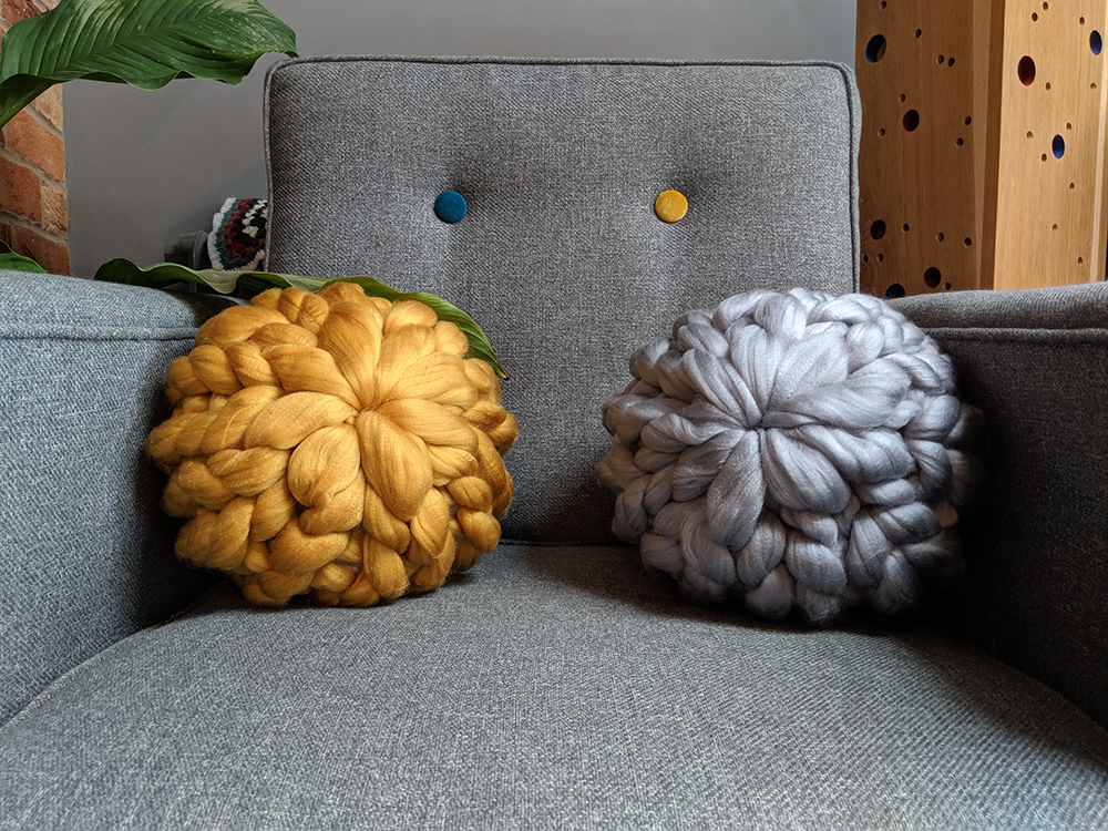 Giant knit 'Sea Urchin' throw cushion course